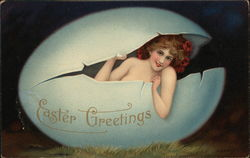 Easter Greetings-Girl in an Egg