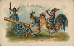 An Easter Greeting with Military Bunnies Firing Eggs From a Cannon