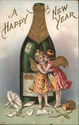A Happy New Year Champagne Bottle and Winged Girls