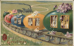 Easter Greetings with Bunnies in Train Cars Made of Eggs