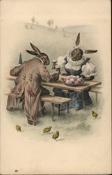 Rabbits Sitting at a Table