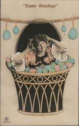 Easter Greetings with Girl in Egg Basket