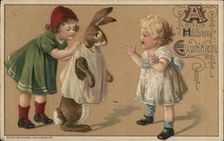 A Happy Easter with Children and a Bunny