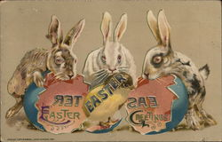 Easter Greetings with Bunnies and Eggs