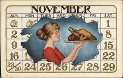 November Calendar Page with Woman Holding Turkey