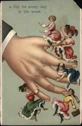 Man's Hand w/Girls Hanging Off Fingers