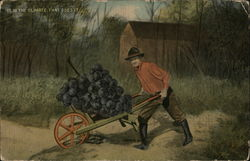 Man pushing huge bunch of grapes