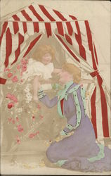 Woman and Child with Flowers under Striped Canopy