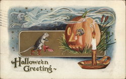 Halloween Greeting - Jack-o-Lantern, witch, candle, and mouse.