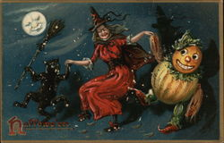 A witch in a red dress dances with a pumpkin man and cat holding a broom by the light of a full moon with a face