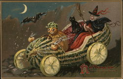 Pumpkin Driving Watermelon Car with Witch and Black Cat in Back Seat