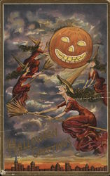 Halloween Greetings with Witches and Jack o'lantern