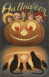 Halloween with Jack o'lantern, Children, and Black Cats