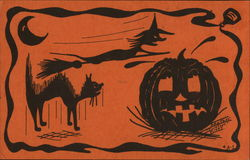 Halloween Scene with black cat, witch, and Jack o' Lantern