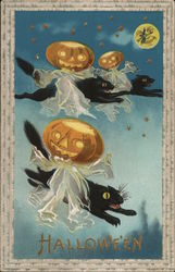 Halloween with Ghostly Jack o'lanterns on Black Cats