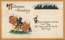 Halloween Greeting with Black Cat and Jack o'lanterns
