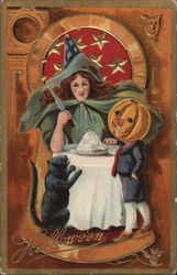 Halloween - Witch, Black Cat, and Boy with Jack-O-Lantern head