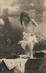 Girl standing on boat