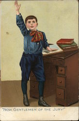 Young Boy Raising Hand