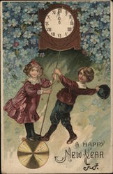 A Happy New Year- Boy and Girl Swinging on a Clock Pendulum.