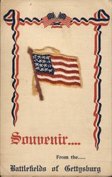 Souvenir From the Battlefields of Gettysburg with Flag Postcard
