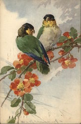 Two Birds Sitting on a Branch with Flowers