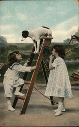 Children and Dog on Ladder