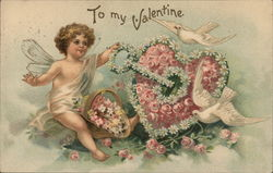 To My Valentine - Cupid With Key Unlocking Heart