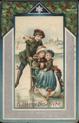 A Happy New Year - Children in Sled on Ice.