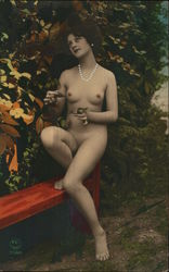 Nude Woman Sitting on Bench