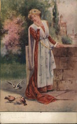 Painting of Woman and Birds at Wall