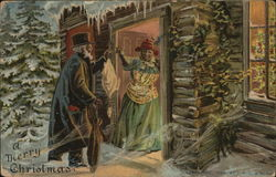 A Merry Christmas with Man being Greeted by Woman at Door