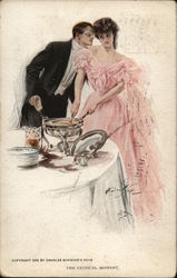 Elegantly Dressed Man and Woman at Party