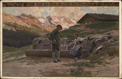Austrian Soldier and Girl in Alps