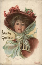 Birthday Greetings with Veiled Woman