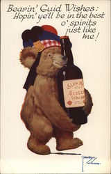 Bear Holding Bottle of Scotch
