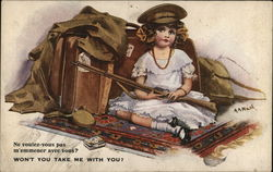 Young Girl With Father's Uniform and Gun and Suitcase