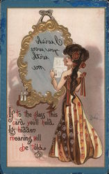 If to the glass this card you'll hold, its hidden meaning will be told Postcard