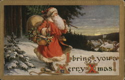 I Bring you a Merry Christmas!-Santa with tree and bag of toys.
