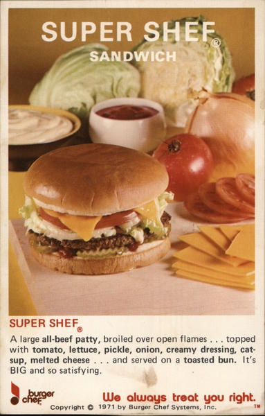 1971 Super Shef Sandwich by Burger Chef Systems Modern (1970's to Present)