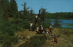 Happy Children Climb the Anchor at Hermit Island Camp Grounds