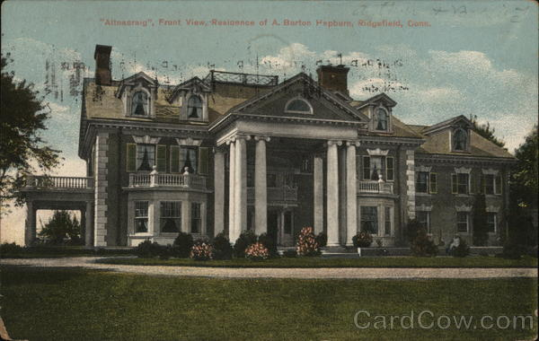 Altnacraig, Front View of Residence of A. Barton Hapburn Ridgefield Connecticut
