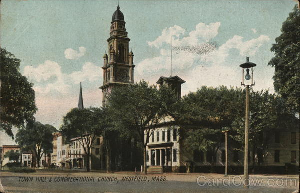 Town Hall and Congregational Church Westfield Massachusetts