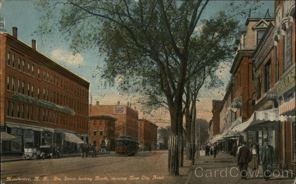 Elm Street looking North, showing New City Hotel Manchester New Hampshire