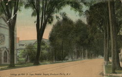 Looking up Main St. from Masonic Temple Postcard