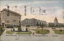 Hotel Whitcomb, Municipal Auditorium, City Hall Postcard