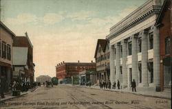 The Gardner Savings Bank Building and Parker Street, looking West