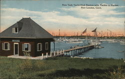 New York Yacht Club and Yachts in Harbor
