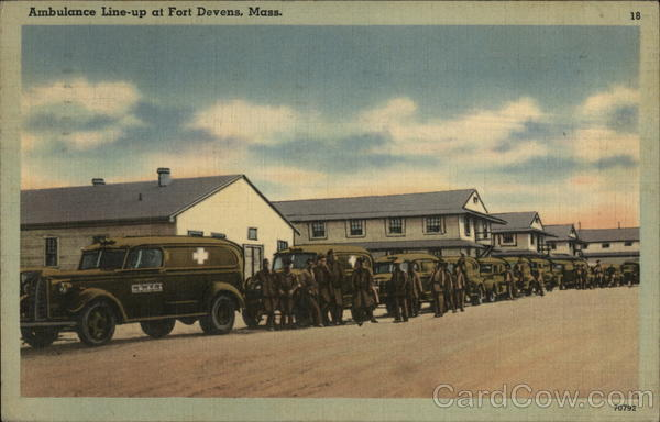 Ambulance Line-Up Fort Devens Massachusetts Army