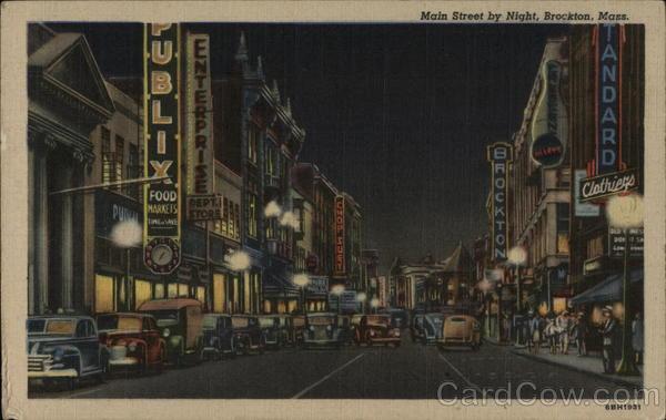 Main Street by Night Brockton, MA